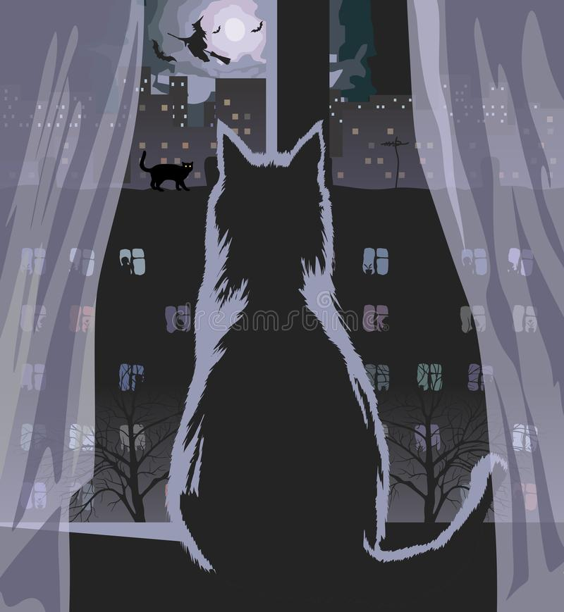 Notte di luna in finestra illustrazione vettoriale