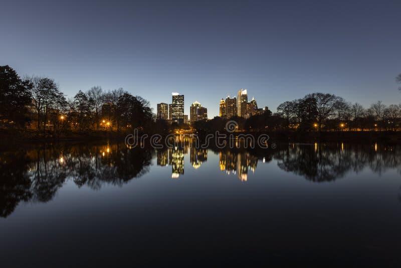 Notte di Midtown di Atlanta fotografia stock