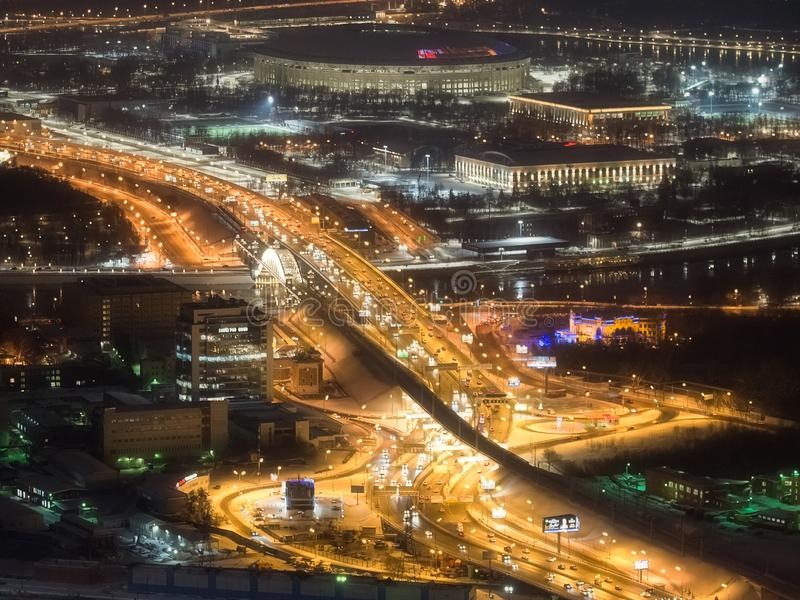 Notte di Mosca 354 metri fotografia stock