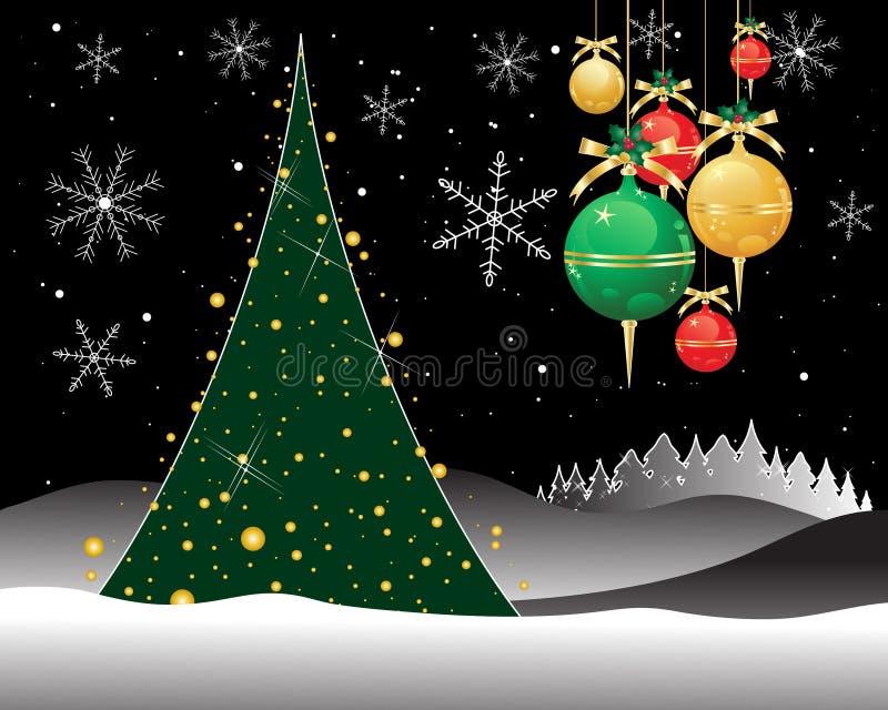 Notte di Natale con i fiocchi di neve e un'abetaia con un albero di Natale decorato illustrazione vettoriale