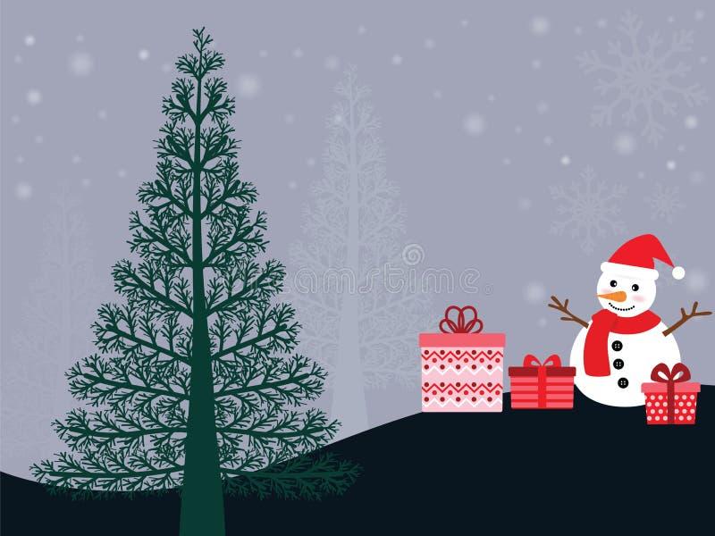 Notte di Natale con il pupazzo di neve fotografie stock libere da diritti