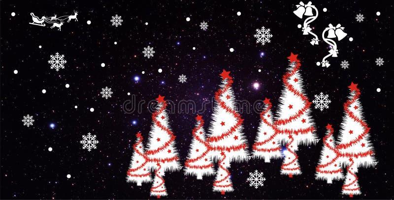Notte di Natale con il vettore del fondo delle precipitazioni nevose immagini stock libere da diritti