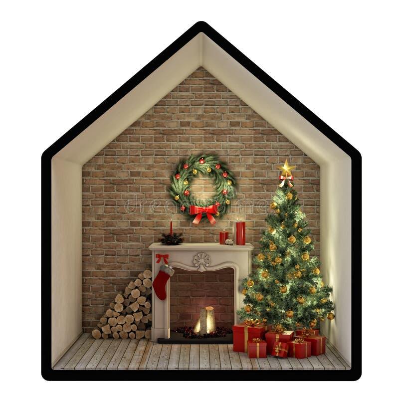 Notte di Natale con l'albero, il camino ed i presente Isolato su priorità bassa bianca illustrazione vettoriale