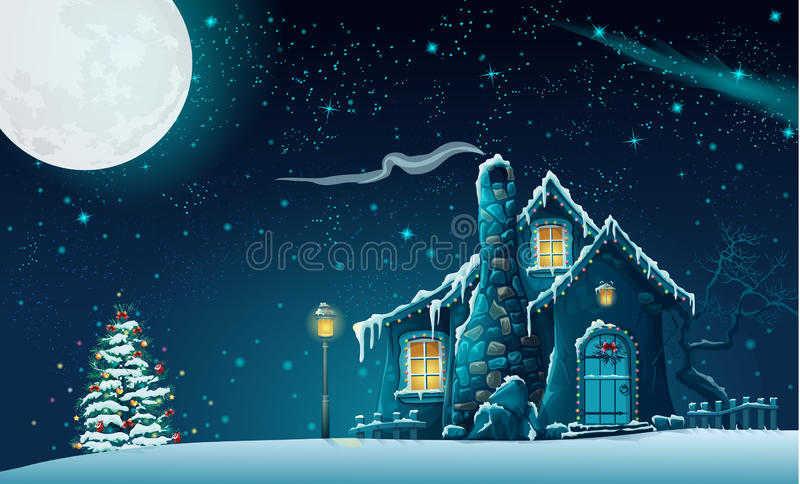 Notte di Natale con una casa favolosa e un albero di Natale illustrazione vettoriale
