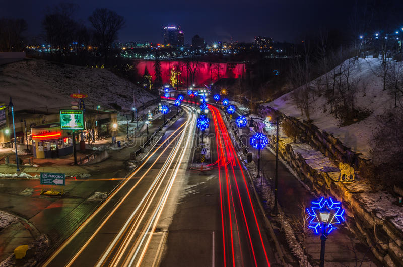 Notte di Natale di cascate del Niagara Ontario Canada immagine stock libera da diritti