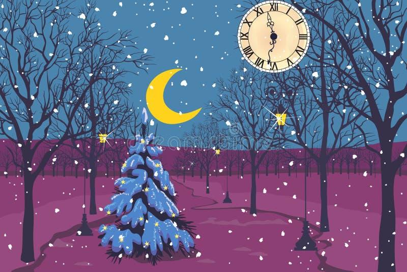 Notte di Natale magica in un parco illustrazione vettoriale