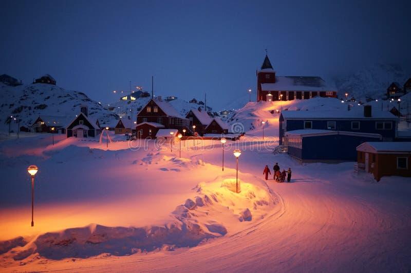 Notte di Natale nel ilulissat fotografie stock libere da diritti