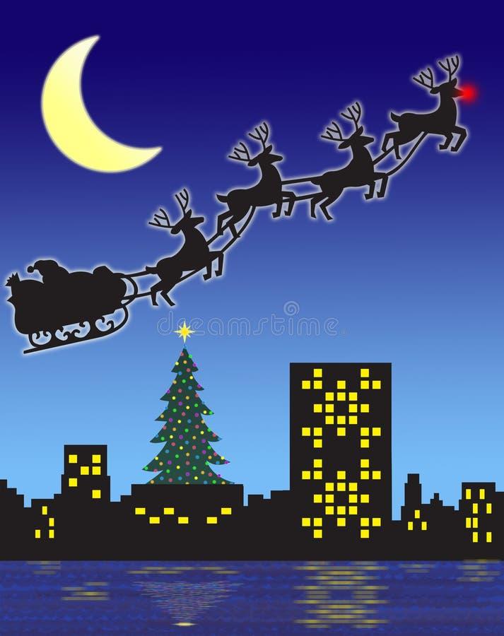 Notte di Natale Santa illustrazione vettoriale