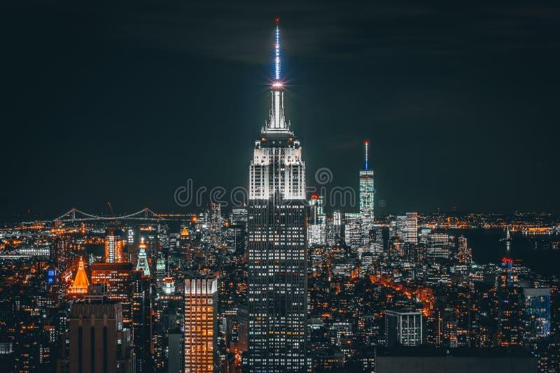 Notte di New York City fotografie stock libere da diritti