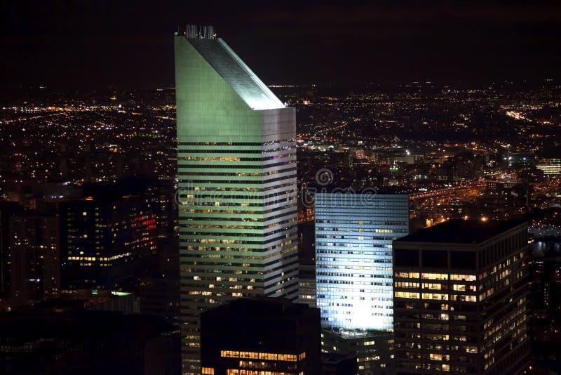 Notte di New York City del grattacielo edificio di Citicorp fotografia stock