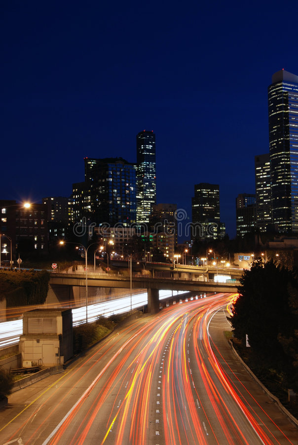 Notte di Seattle fotografia stock libera da diritti