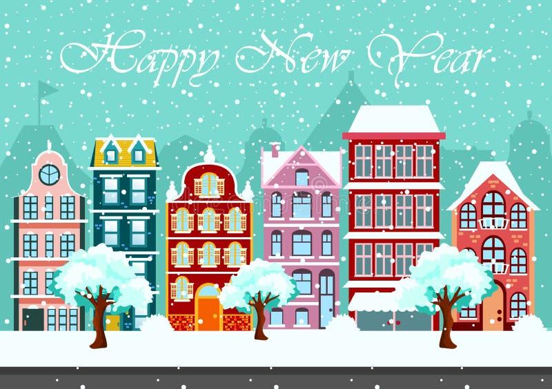 Notte di Snowy nel panorama accogliente della città della città il paesaggio urbano nel Natale cronometra l'illustrazione di vett royalty illustrazione gratis