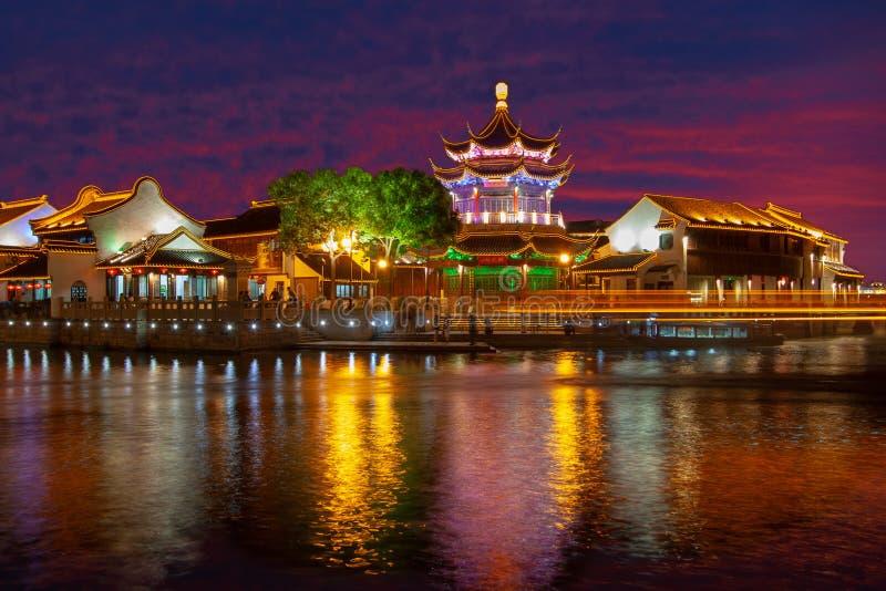 Notte di Suzhou, Cina immagini stock