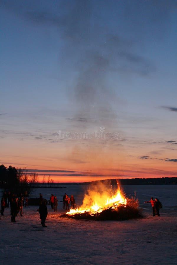 Notte di Walpurgis in Luleå fotografie stock libere da diritti