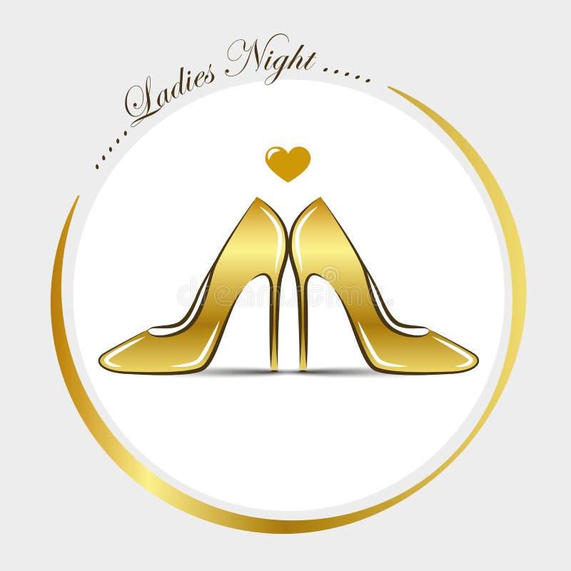 Notte dorata delle signore di modo del tacco alto delle scarpe delle donne illustrazione vettoriale