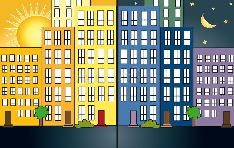 Notte e giorno della città royalty illustrazione gratis