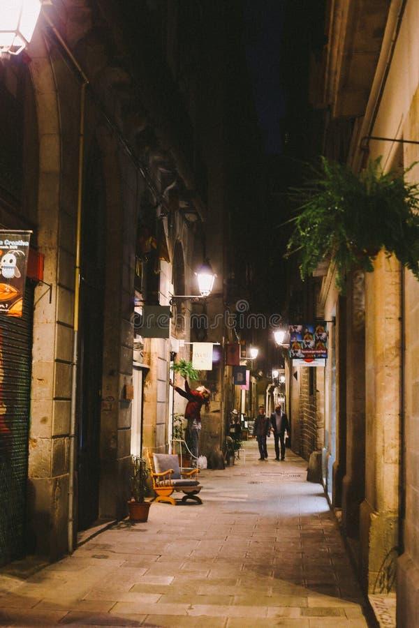 Notte in EL sopportato, Barcellona fotografia stock libera da diritti