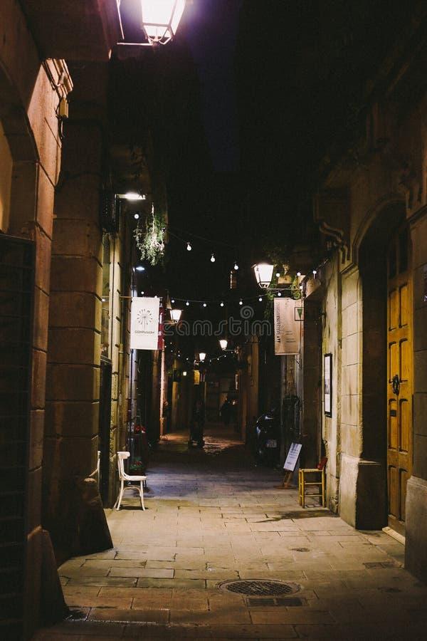 Notte in EL sopportato, Barcellona fotografia stock