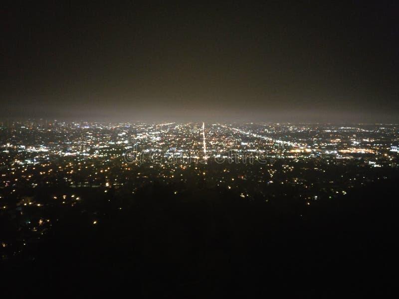 Notte in Griffith Observatory, Los Angeles, California, U.S.A. fotografia stock libera da diritti