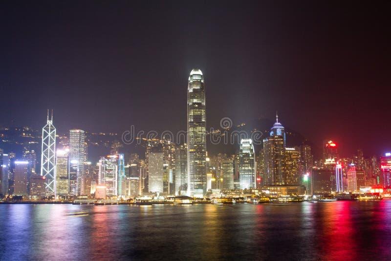 notte a Hong Kong fotografia stock libera da diritti
