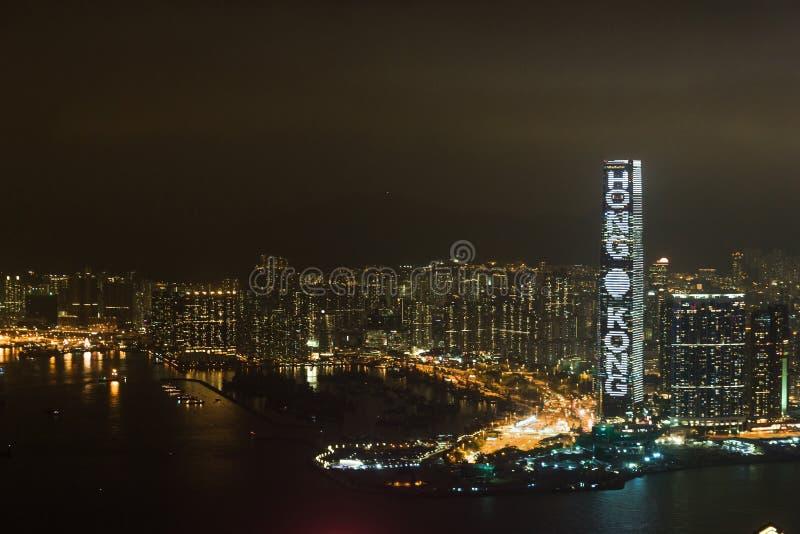Notte Hong Kong e Kowloon e Victoria Harbor immagini stock libere da diritti