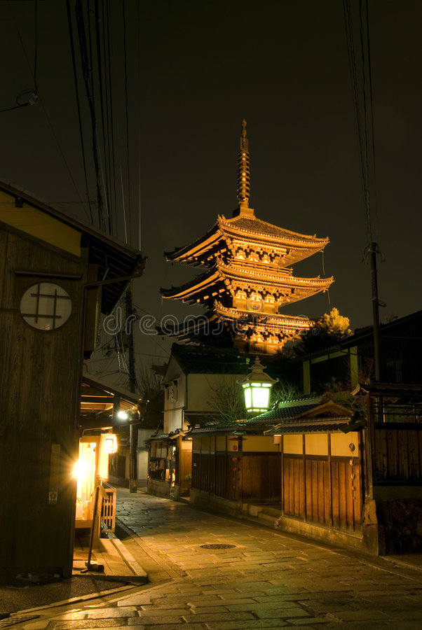 Notte a Kyoto fotografia stock