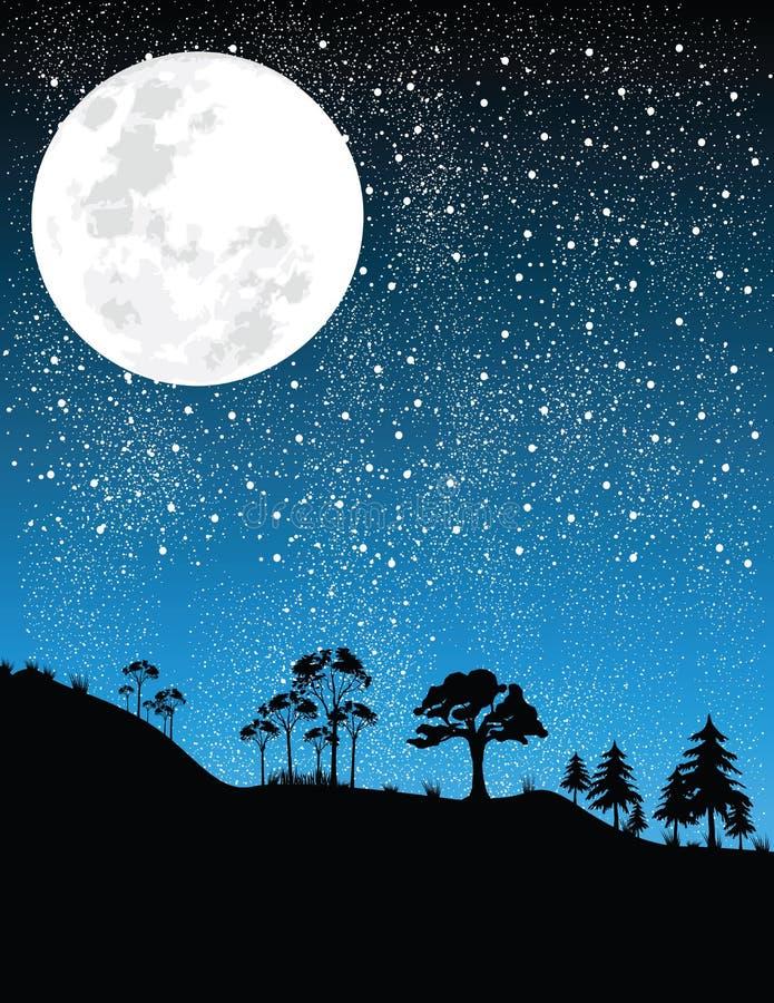 Notte-luna   illustrazione vettoriale