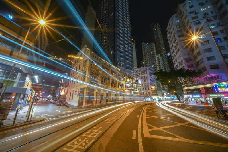 Notte lunga di Hong Kong Wan Chai Sony A7R2 1224G immagine stock libera da diritti