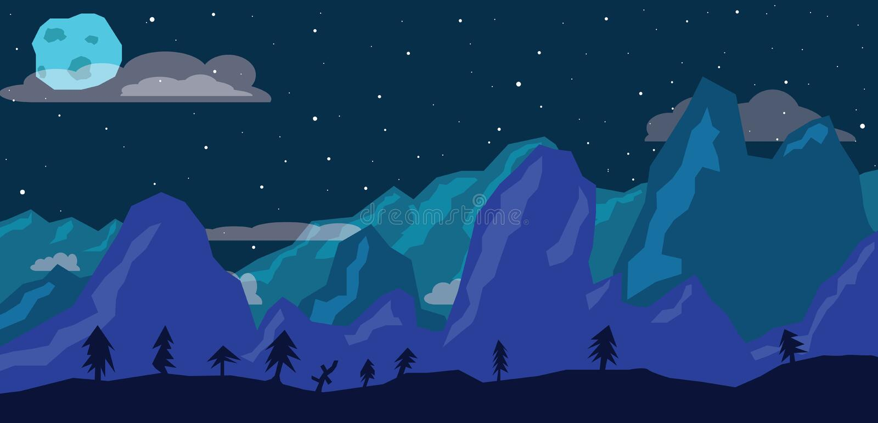 Notte in montagne immagini stock