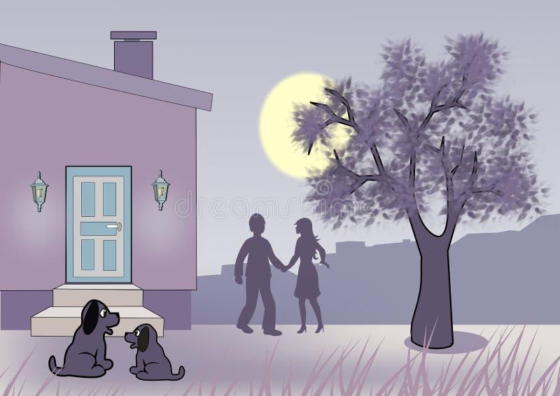 Notte Moonlit royalty illustrazione gratis
