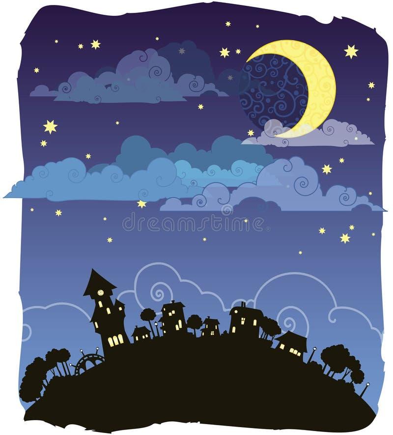 Download Notte Moonlit illustrazione di stock. Illustrazione di colore - 7323366