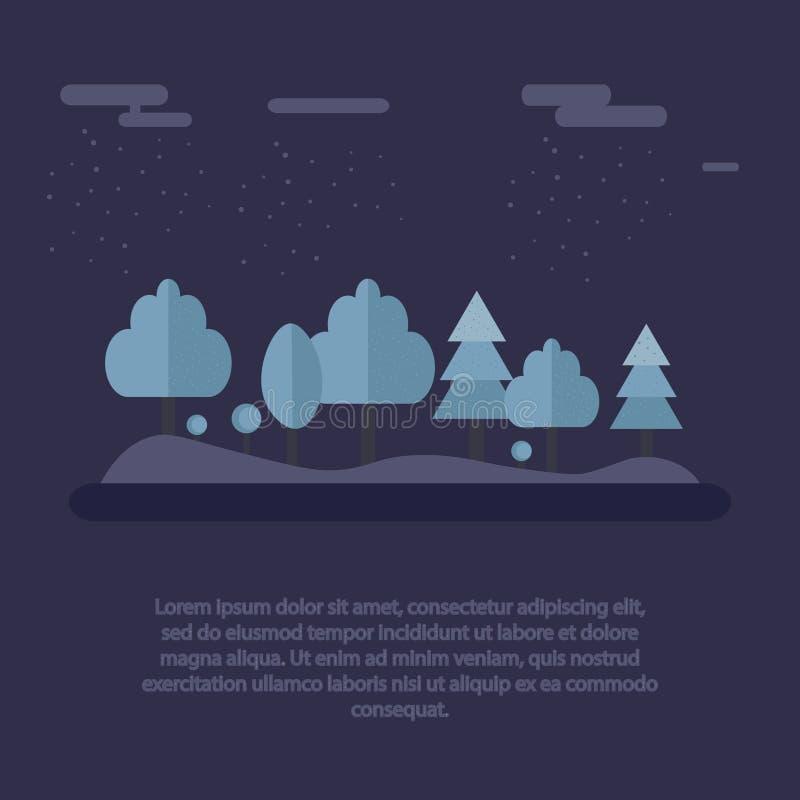 Notte negli alberi nevosi del bello paesaggio della foresta di inverno alla notte Illustrazione di vettore illustrazione vettoriale