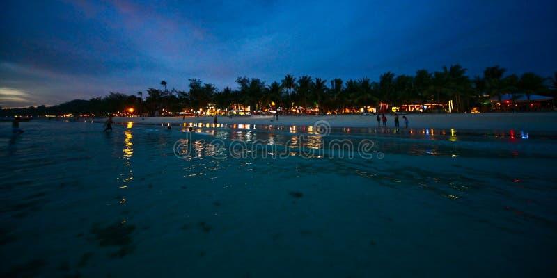 Notte nell'isola di Boracay immagine stock libera da diritti