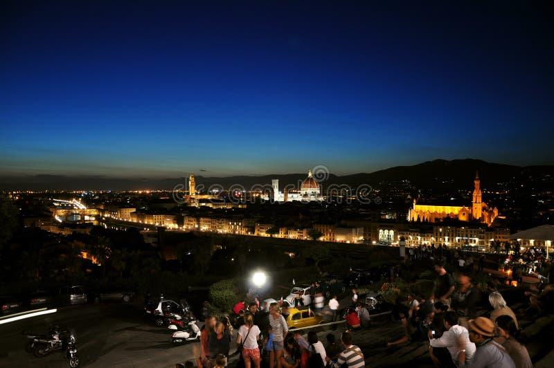 Notte nella città di Firenze, Italia fotografia stock