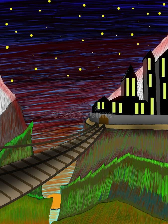 Download Notte nelle montagne illustrazione di stock. Illustrazione di brown - 117981587