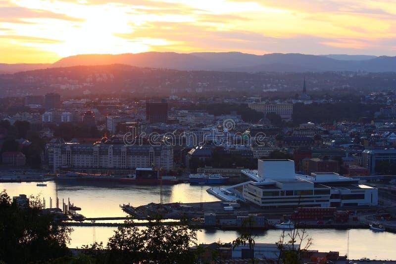 Notte Oslo fotografia stock libera da diritti