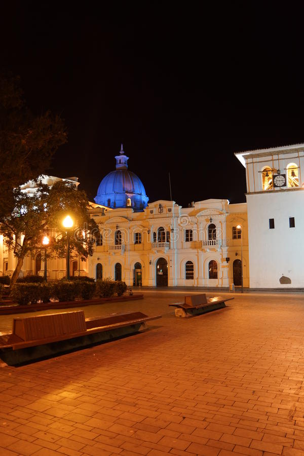 Notte in Popayan Colombia immagini stock
