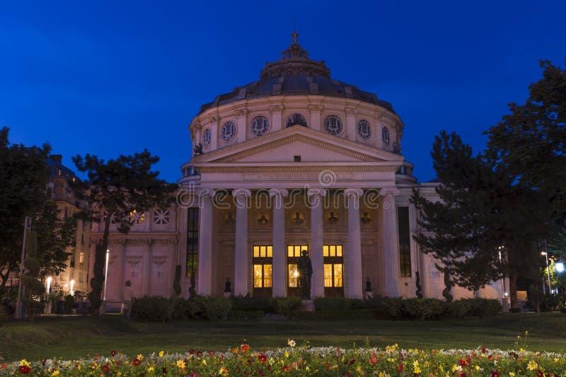 Notte rumena di Athenaeum di Bucarest fotografia stock libera da diritti