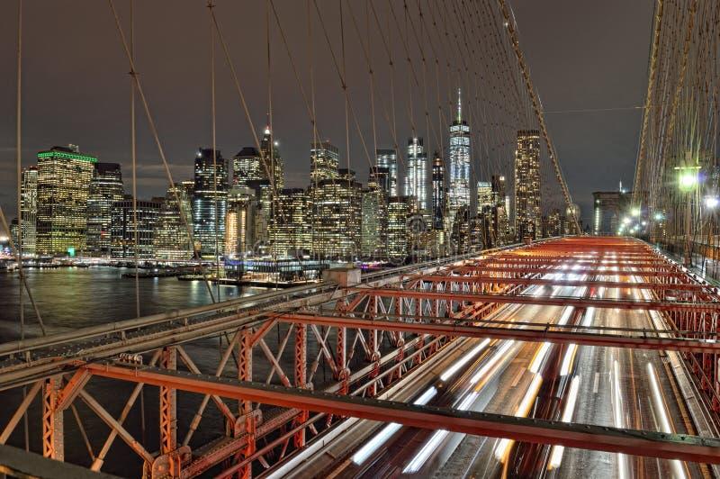 Notte sopra Manhattan fotografia stock
