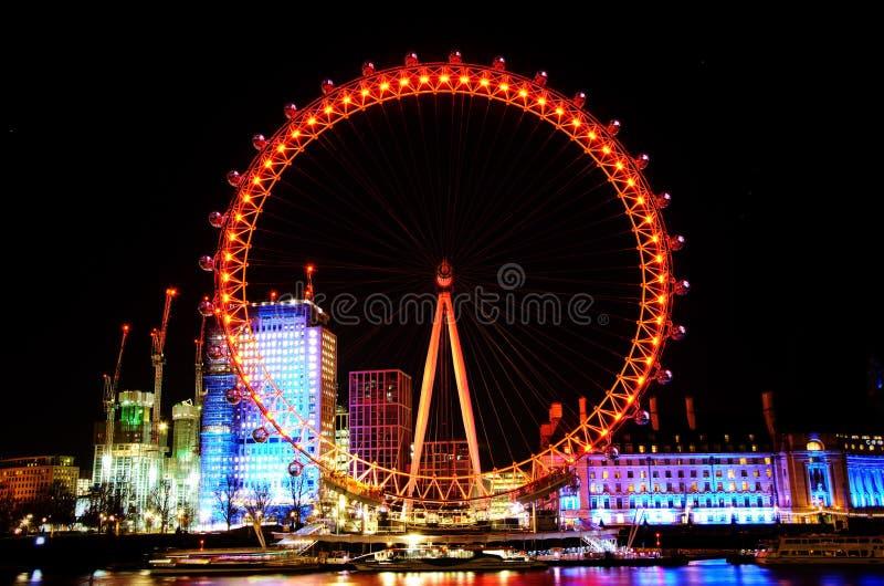 Notte sparata di Coca Cola London Eye nel Regno Unito immagini stock libere da diritti