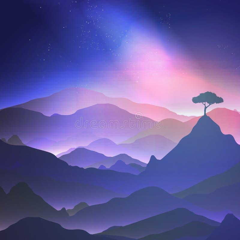 Notte stellata nelle montagne con un albero solo - vettore illustrazione di stock