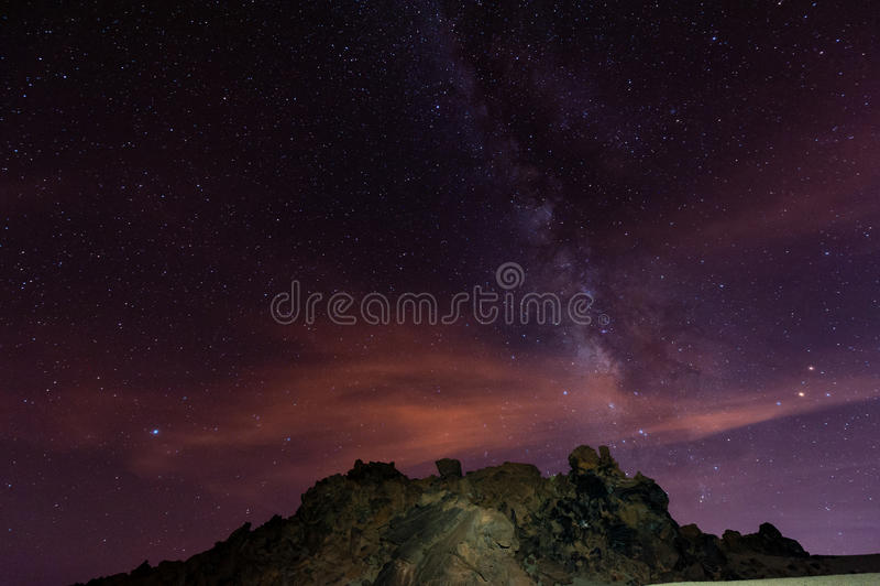Notte stellata sopra Tenerife fotografia stock