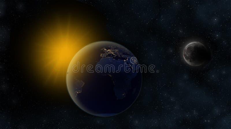 Notte su pianeta Terra, Sun nei precedenti distanti e luna orbitante con i crateri Scena cosmica con le stelle L'Africa, Europa e illustrazione di stock
