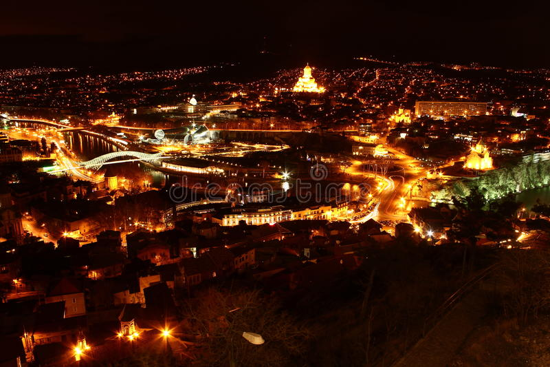 Notte Tbilisi fotografia stock