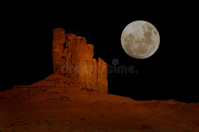 Notte in valle Arizona del monumento fotografia stock