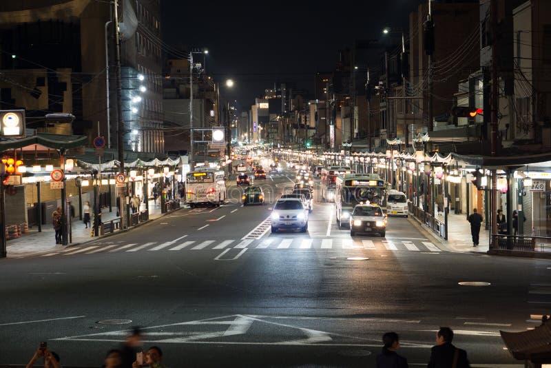Notte in via di Kyoto fotografie stock libere da diritti