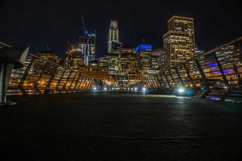 Notti a San Francisco dal pilastro fotografia stock libera da diritti