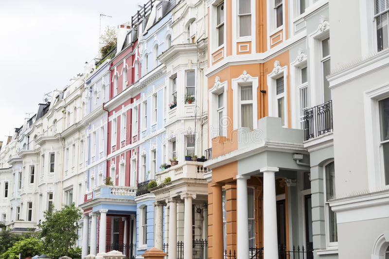 Notting Hill colorful houses stock photos
