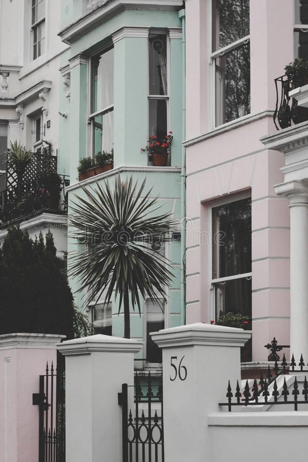 Notting Hill Pastel Homes stock photos