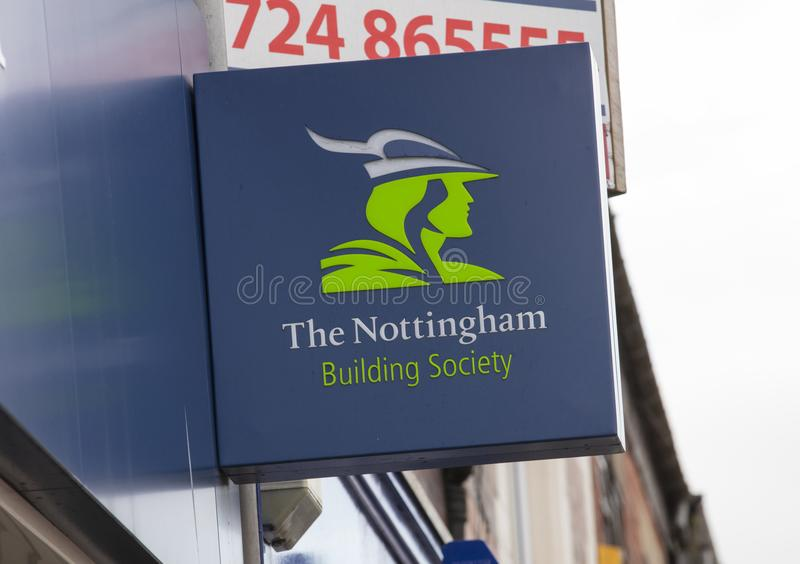 Nottingham Building Society sign on the high street - Scunthorpe, Lincolnshire, United Kingdom - 23rd January 2018 royalty free stock photography